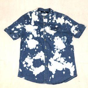 Sean John Short Sleeve Denim Shirt Size Large